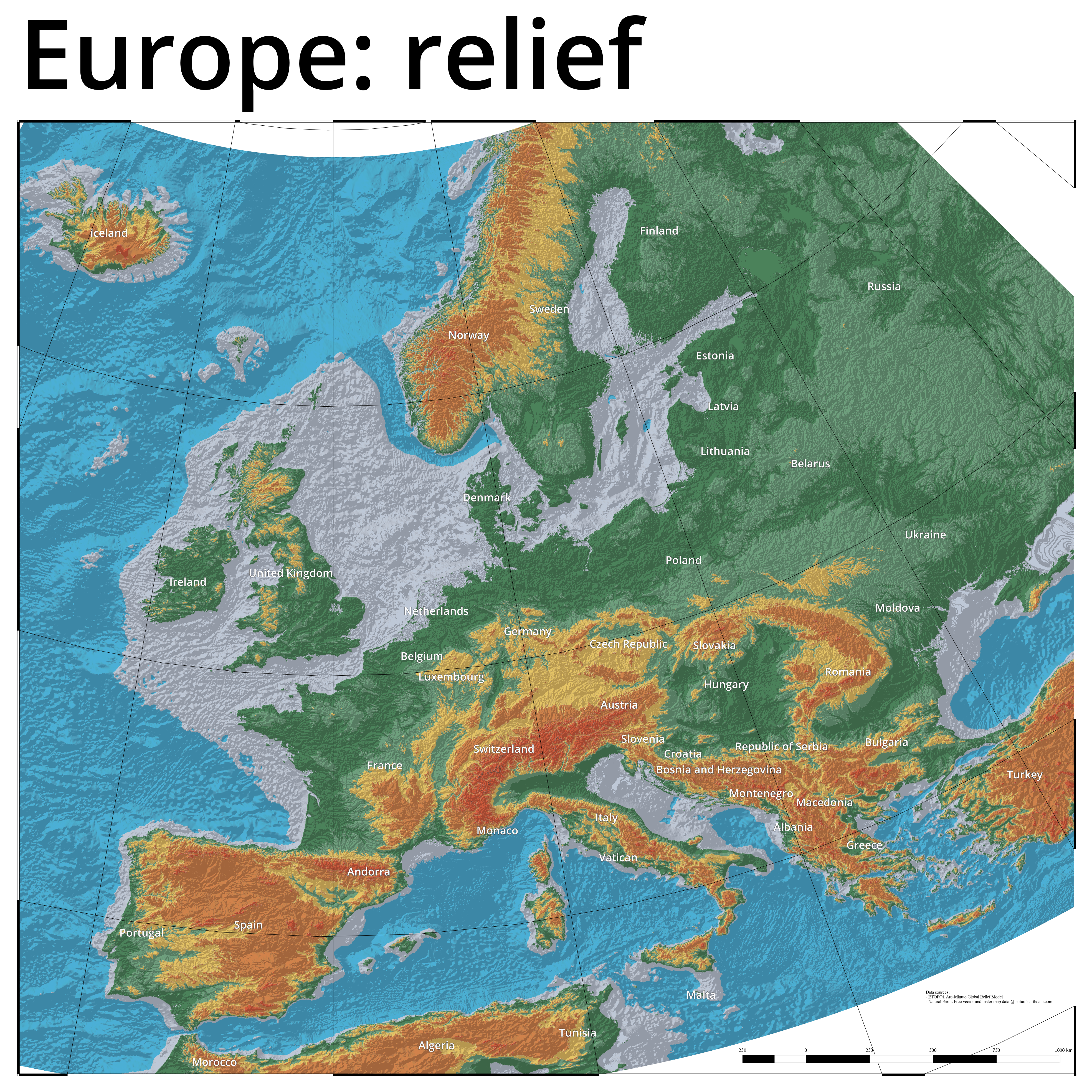 High Resolution Map Of Europe.A Relief Map Of Europe Made With Qgis Stuyts Xyz